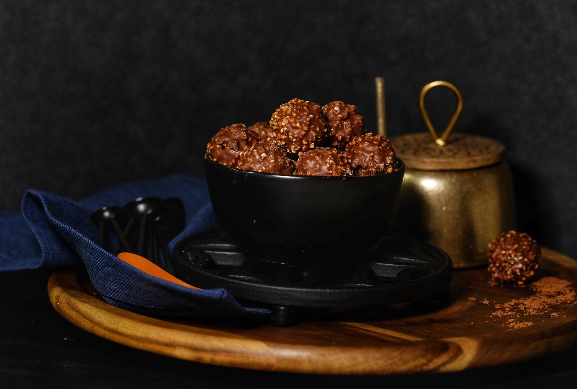 chocolate on a black bowl